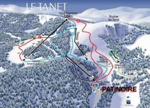 Plan des pistes de la station de ski le tanet