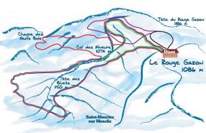 Plan des pistes de ski de fond au rouge gazon