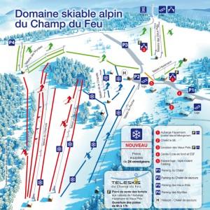 Plan des pistes du domaine alpin Belmont - champ du feu