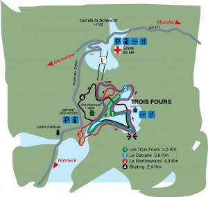 Plan des pistes nordique de la Schlucht les trois fours